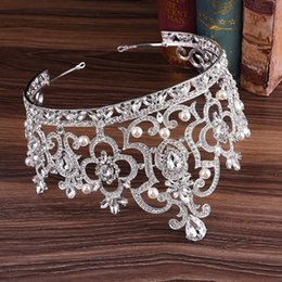 $enCountryForm.capitalKeyWord Australia - Luxury Queen Bridal Crowns Silver Wedding Hair Accessory Bridal Jewelry Pearl Crystal Tiaras Gold Red Green Blue Miss World Crowns