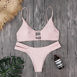 thong cut out swimsuits 2020 - Sexy Micro Bikini Mujer Women Solid Pink Cut Out Bandage Bikinis Beach Bathing Suit Push Up Padded Thong Swimsuit Biquin