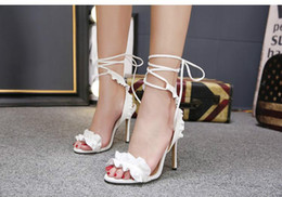 $enCountryForm.capitalKeyWord Australia - Sexy White Flower Wedding Shoes women High heeled sandals Bride Bridesmaid Shoes banquet Prom party Dress shoes Ankle Strap sandals..