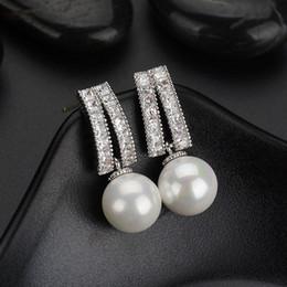 $enCountryForm.capitalKeyWord Australia - Anti Allergy Simulated Pearl Ear Piercing Jewelry Studs For Women Office Ladies Style Earrings Jewellery with Cubic Zircon
