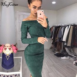74067eab3989 Hugcitar Suede Long Sleeve Off Shoulder Women Mid-calf Dress 2018 Autumn  Winter Female Sexy Bodycon New Year Party Dresses T190408