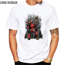 Wholesale iron print shirt online – design Cool on the Iron Throne T Shirt Design Fashion Game of thrones T shirt Men s Short Sleeve Tops Tee