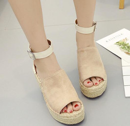 casual shoes brown colour Australia - 2019 New Fashion Women's hot woman wedding shoes woman fashion Pure-colour thick-soled sloping sandals
