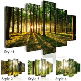 Landscape Photography Prints NZ - 5 Panels Beautiful Spring Tree and Forest Modern Creative Nature Landscape Photography Picture Wall Art Picture Modern Home Decor Living Roo