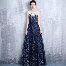 a02670f115 2019 vestido de noite banquete feminino novo vestido azul escuro longo azul  marinho comércio exterior casamento reunião anual host saia