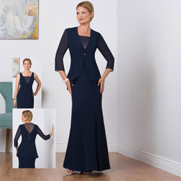 $enCountryForm.capitalKeyWord NZ - Classy Navy Blue Mermaid Mother of the Bride Dresses Beaded V Neck With Long Sleeves Jacket Wedding Guest Dress Floor Length Formal Gowns