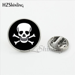 $enCountryForm.capitalKeyWord Australia - 2019 New Trendy Skull and Bones Brooch Pins Steampunk Round Glass Photo Skull Jewelry Stainless Steel Lapel Pins