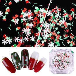 Nails flake online shopping - Nail Sequins Christmas Decors Xmas Nail with White Snowflake Mix Color Shape Flake Red Green Star Heart and Stripes