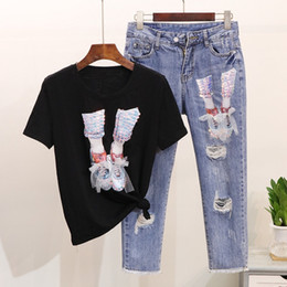 Black Gauze T Shirt Australia - 2019 New Spring Summer Women Sequin Gauze Shoe Short-sleeve T-shirt + Holes Seven points Jeans Pants Casual Women Two Piece Set