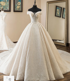 Line Princess Cathedral Bridal Wedding Dress Australia - Vestido De Noiva Ball Gown 2019 Wedding Dresses Off The Shoulder Cathedral Train Lace Ivory Bridal Gown For Church Custom Made