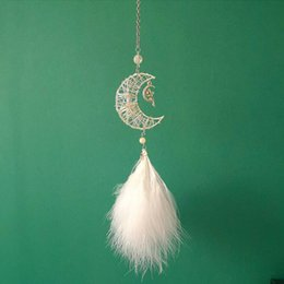 $enCountryForm.capitalKeyWord Australia - Moon Fairy Feather DreamCatcher Car Pendant Interior Hanging Innovative Gift
