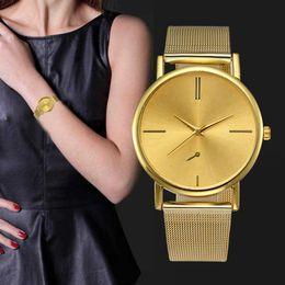 Large Wrist Watches Australia - Classic Gold Watch Women Simple Design Large Dial Wrist Watches Ladies Luxury Stainless Steel Band Analog Quartz Watch Reloj #Ze