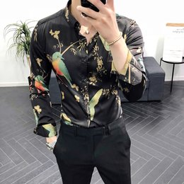 Wholesale blouse birds print online – design British style New Trendy Shirt Men Bird Printed Long Sleeve Casual Shirts Male Blouse Man Stretch Dress Slim Fit Shirt Men