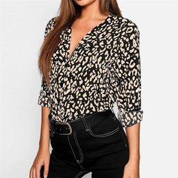 V Necks Shirts NZ - 2019 women's spring and summer leopard print V-neck long-sleeved casual women's chiffon shirt see through top women sexy shirt