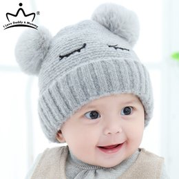 cute kids red caps UK - Cute Baby Cap Winter Crochet Pompom Baby Girl Boy Hat Warm Knitted Infant Kids Beanie Solid Color Furry Balls Hats