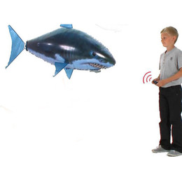 rc flying shark fish NZ - 10 Sets Shark Balloons Remote Control Toys Air Swimming Fish Infrared RC Flying KidsToys Birthday Gifts Party Decoration Toy