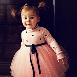 Wholesale Baby Girls Dress Dots Princess Dresses Long Sleeve Knit Sweater Tutu Dress Girls Outfits Kids Clothing Pink Black White YW1972