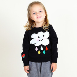 $enCountryForm.capitalKeyWord UK - Girls Cotton Knitted Sweater Baby Boy Girl Cloud Rain Pattern Outerwear Kids Long Sleeve Outfit Infant Toddler Girl Sweaters