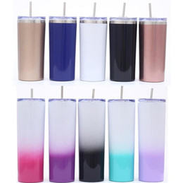 Cup straws online shopping - 20OZ Stainless Steel Skinny Tumbler Vacuum Insulated Straight Cup Beer Coffee Mug Wine Glasses With Lids Straws Cup Water Bottle