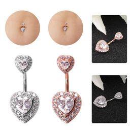 Belly Piercing Pendant Australia - Crystal Zircon Heart Belly Button Rings Body Navel Piercing Pendant Jewelry