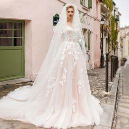 $enCountryForm.capitalKeyWord Australia - 2019 Modern Light Pink Wedding Dresses Sleeveless Sheer Jewel Lace Applique Beaded Bridal Gowns Sexy Open Back Beach Boho Long Wedding Dress