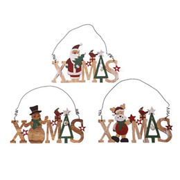 wooden pendant shapes Australia - Creative Christmas Tree Decoration Wooden Letter Shape Pendant Snowman Fireplace Hollow Door Doorplate Hanging Ornaments
