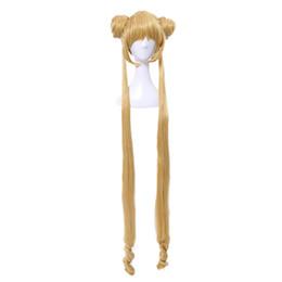 Chinese  Sailor Moon Tsukino Usagi Two Ponytails Buns Bangs Long Blonde Cosplay Full Wig manufacturers