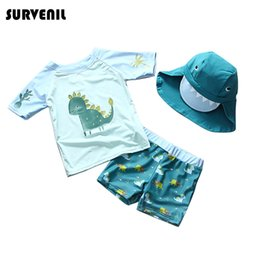 green dinosaur shorts 2019 - UPF50 Children's Swimsuit for Boys Dinosaur Print Kids Rash Guard Short Sleeved Swimming Bathing Suits Toddler Baby