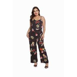 $enCountryForm.capitalKeyWord UK - Women Jumpsuit 2019 Summer Stripe Floral Printed Bandage Plus Size 5XL Sexy Spaghetti Strap Elegant Wide Pants Jumpsuit