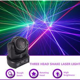 $enCountryForm.capitalKeyWord Australia - Mini 3 Head RGB Shark Moving Beam DMX Network Laser Light Professional Home Gig Party DJ Stage Lighting Sound Auto DJ-3H moving head light