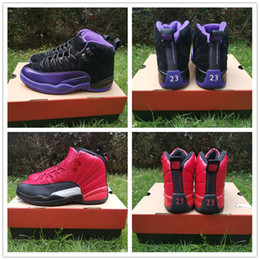 cheap hockey shoes NZ - Cheap men Basketball Shoes 12 XII Dark Concord Reverse Flu Game designer Sports Sneakers 12s Varsity Red Black Purple mens athletic trainer