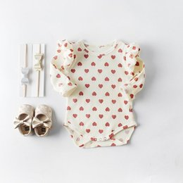 pink heart tutu NZ - Retail 2019 Valentine's Day Clothing Baby Girls Cotton Love Heart Long Sleeve bodysuits Newborn Overalls 0-2T E82056