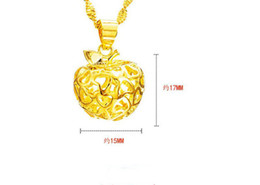 Necklaces Pendants Australia - 30 Lucky Simulation Gold Three-dimensional Love heart Apple Pendant Necklace High Imitation Gold hollow Geometric Round Apple Necklace