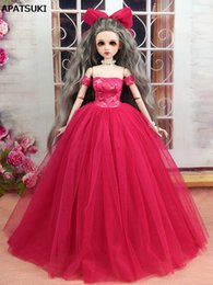 doll fashion wedding dress Australia - Hot Pink Fashion Dress & Veil Wedding Dress for 45-50cm XINYI Doll 1:4 Doll Accessories Gown Party Clothes for 1 4 BJD Dollhouse