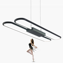 China Modern 80cm long black white color aluminium Pendant lamp simple design home office 54W LED acrylic pendant lighting fixture suppliers