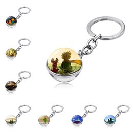 fairy tale pendants wholesale NZ - 12 style Classical Fairy Tale keychain Double-sided Glass Ball Little Prince keyring Bag Car Keys Hanging pendant Children Women Gift JJ197
