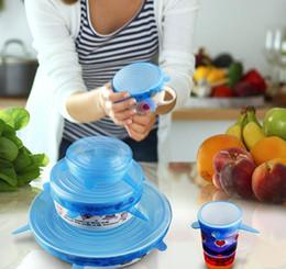 Kitchen Pots Pans Sets Australia - Silicone Stretch Lids 6PCS SET Suction Pot Reusable Fresh Keeping Wrap Seal Lid Pan Cover Kitchen Tools Accessories