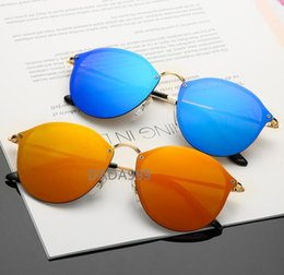 Unique Sunglasses Lenses Australia - 2019 sunglasses ladies men's brand designer metal frame unique round flat lens coating uv400 sunglasses goggles glasses case and box