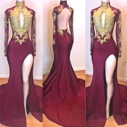 China High Neck Long Sleeve Mermaid Burgundy Prom Party Dresses 2019 Key Hole Split Formal Evening Gowns Gold Appliques Open Back Formal Dress supplier mermaid key hole suppliers