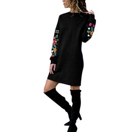 floral sweatshirts for women UK - New Fashion Women Casual Straight Dress Floral Print Long Sleeves Loose Shift Dress for Women Sweatshirt Autumn Vestidos Female