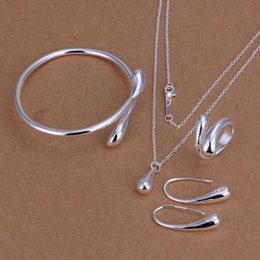 Necklace Stamps Australia - Fashion Wedding Bridal Jewelry Sets Silver 925 Stamped Silver Water Drop Bangles+Necklace+Rings+Earrings Sets for Women Jewel