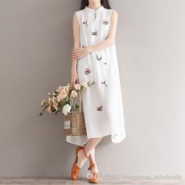 6363a96931 Nice Summer Casual Cotton Linen Dress Women Floral Print Loose Waist Dress  Beige Plus Size Women Beach Cute Party Dress