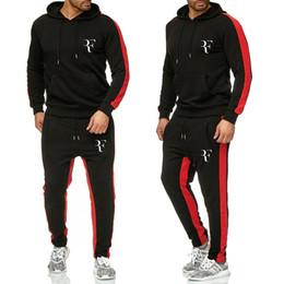 Toptan satış Yeni Sıcak Setleri Moda Sporting Suit Marka Patchwork Eğlence Roger Federer Hoodies Kazak + Sweatpants 2 Parça Setleri Eşofman