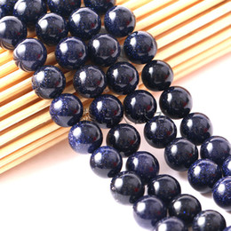 Discount 12 tv - Factory price Natural Blue SandStone Round crystal Stone Loose Beads For bracelet necklace Jewelry Making in Bulk 4 6 8