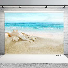 children beach paintings Australia - beach sea conch vinyl photographic backgrounds for photo shoot 7X5ft cloth for wedding lover baby children backdrops photo studio