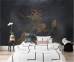 lotus flower room decor NZ - Custom photo 3d wallpaper Chinese golden lotus flower background living room home decor 3d wall murals wallpaper for walls 3 d
