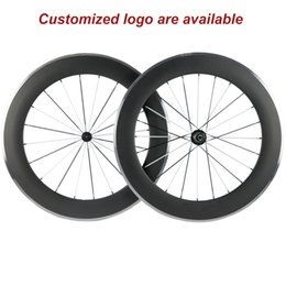 clincher alloy brake surface NZ - A pair 80mm clincher 23mm width alloy brake carbon wheelset 3k aluminum surface brake with R13 hub White And Black Spokes
