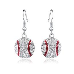 $enCountryForm.capitalKeyWord Australia - Fashion Baseball Dangle Earrings High Quality Rhinestone Ball Earrings Hot Sport Style Jewelry Gifts for Women