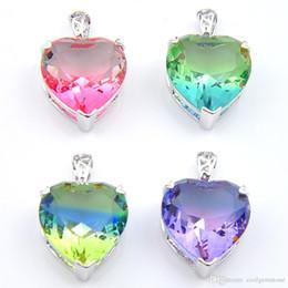 $enCountryForm.capitalKeyWord Australia - Wholesale 12 pcs Luckyshine Rainbow Love heart Tourmaline Gem 925 Platinum Plated Women Wedding Pendant Necklaces 16*18mm New