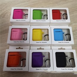 Discount apple wholesale items - For Apple Airpods Cases Silicone Soft Ultra Thin Protector Airpod Case Anti-drop With Hook Retail Box Hot Sell Items